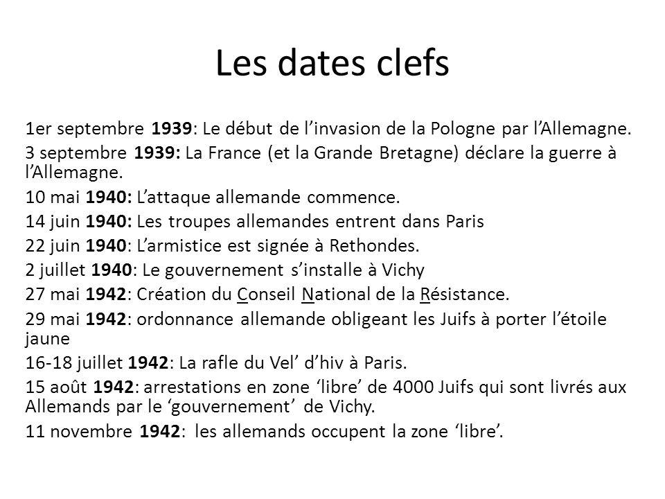 Les dates clefs 1er septembre 1939: Le début de linvasion de la Pologne par lAllemagne. 3 septembre 1939: La France (et la Grande Bretagne) déclare la