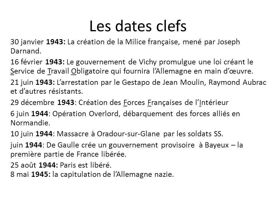 Les dates clefs 30 janvier 1943: La création de la Milice française, mené par Joseph Darnand. 16 février 1943: Le gouvernement de Vichy promulgue une