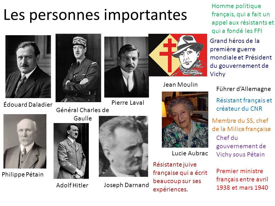 Les personnes importantes Édouard Daladier Premier ministre français entre avril 1938 et mars 1940 Général Charles de Gaulle Homme politique français,