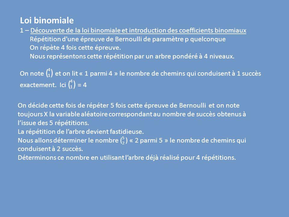 Loi binomiale 1 – Découverte de la loi binomiale et introduction des coefficients binomiaux Répétition d'une épreuve de Bernoulli de paramètre p quelc