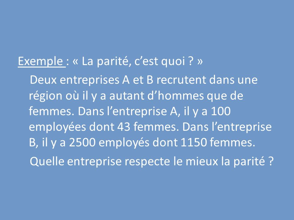 Exemple : « La parité, cest quoi ? » Deux entreprises A et B recrutent dans une région où il y a autant dhommes que de femmes. Dans lentreprise A, il
