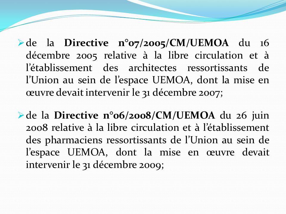 de la Directive n°07/2005/CM/UEMOA du 16 décembre 2005 relative à la libre circulation et à létablissement des architectes ressortissants de lUnion au