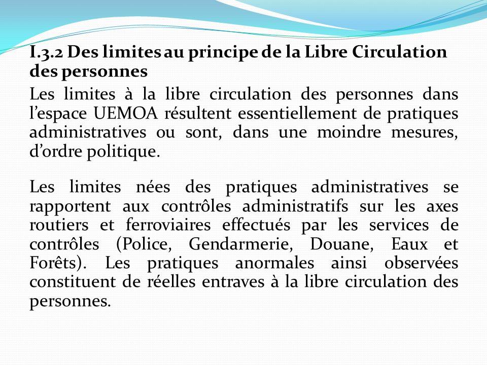 I.3.2 Des limites au principe de la Libre Circulation des personnes Les limites à la libre circulation des personnes dans lespace UEMOA résultent esse