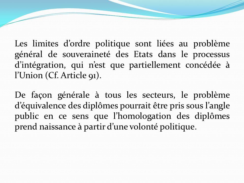 Les limites dordre politique sont liées au problème général de souveraineté des Etats dans le processus dintégration, qui nest que partiellement concé