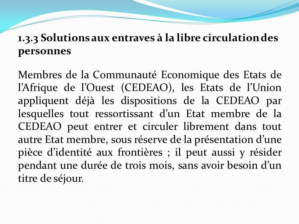1.3.3 Solutions aux entraves à la libre circulation des personnes Membres de la Communauté Economique des Etats de lAfrique de lOuest (CEDEAO), les Et