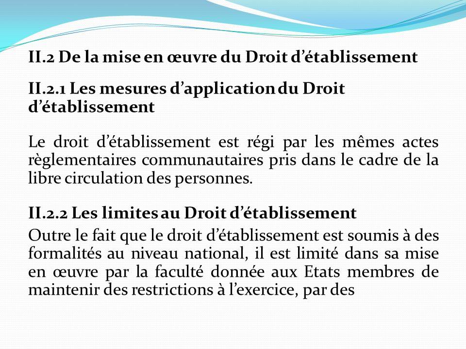II.2 De la mise en œuvre du Droit détablissement II.2.1 Les mesures dapplication du Droit détablissement Le droit détablissement est régi par les même