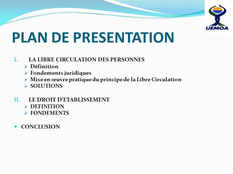 PLAN DE PRESENTATION I. LA LIBRE CIRCULATION DES PERSONNES Définition Fondements juridiques Mise en œuvre pratique du principe de la Libre Circulation