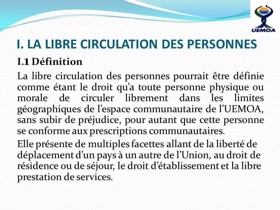 I. LA LIBRE CIRCULATION DES PERSONNES I. 1 Définition La libre circulation des personnes pourrait être définie comme étant le droit qua toute personne