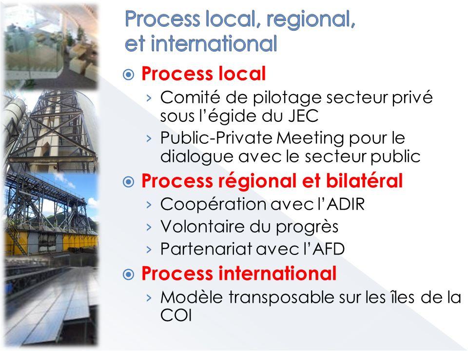 Process local Comité de pilotage secteur privé sous légide du JEC Public-Private Meeting pour le dialogue avec le secteur public Process régional et bilatéral Coopération avec lADIR Volontaire du progrès Partenariat avec lAFD Process international Modèle transposable sur les îles de la COI