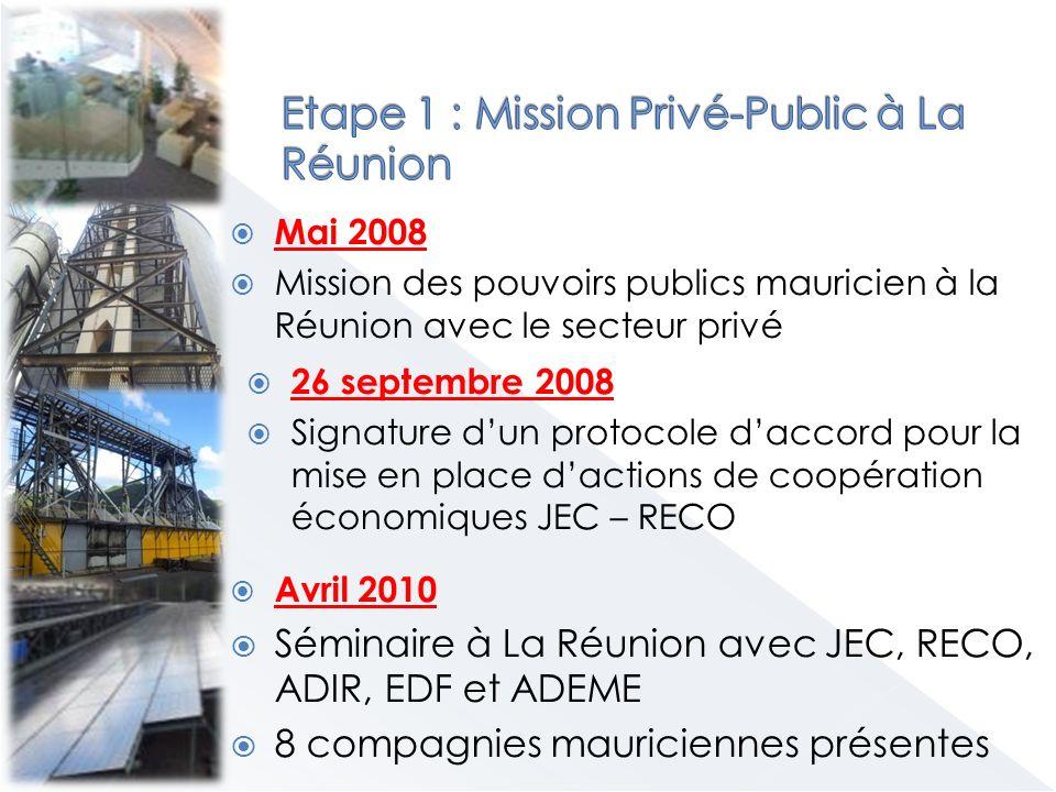 Mai 2008 Mission des pouvoirs publics mauricien à la Réunion avec le secteur privé 26 septembre 2008 Signature dun protocole daccord pour la mise en place dactions de coopération économiques JEC – RECO Avril 2010 Séminaire à La Réunion avec JEC, RECO, ADIR, EDF et ADEME 8 compagnies mauriciennes présentes