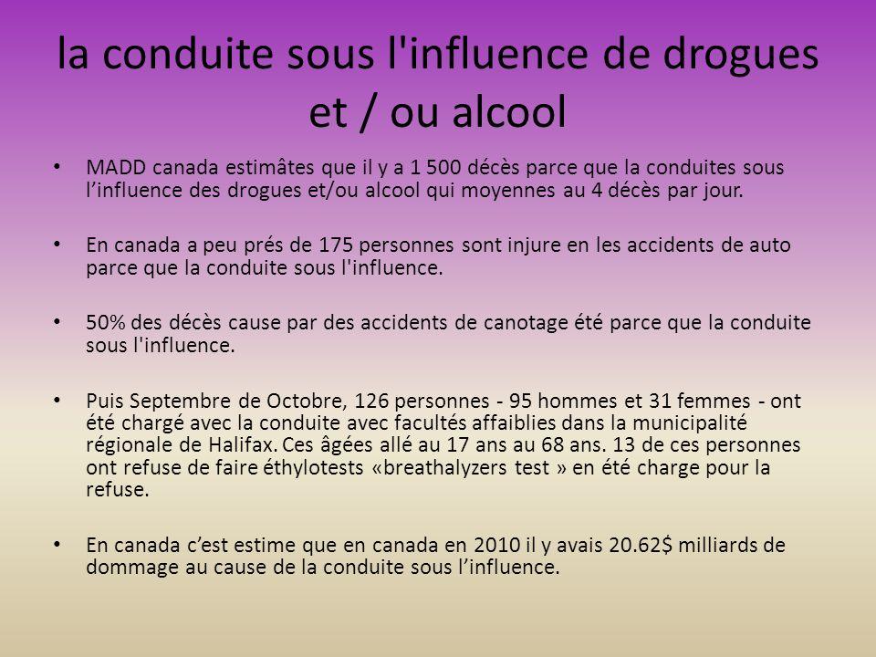 la conduite sous l influence de drogues et / ou alcool MADD canada estimâtes que il y a 1 500 décès parce que la conduites sous linfluence des drogues et/ou alcool qui moyennes au 4 décès par jour.