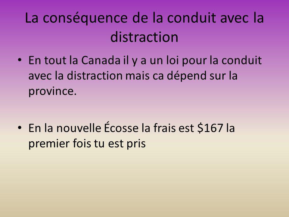 La conséquence de la conduit avec la distraction En tout la Canada il y a un loi pour la conduit avec la distraction mais ca dépend sur la province.