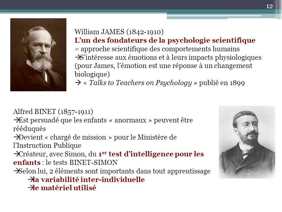 William JAMES (1842-1910) Lun des fondateurs de la psychologie scientifique = approche scientifique des comportements humains Sintéresse aux émotions