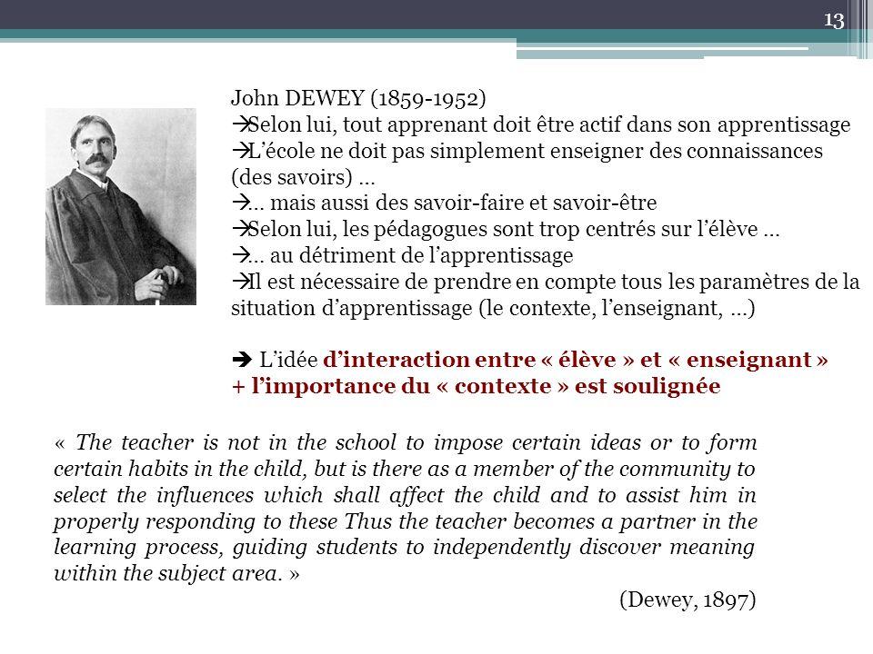 John DEWEY (1859-1952) Selon lui, tout apprenant doit être actif dans son apprentissage Lécole ne doit pas simplement enseigner des connaissances (des