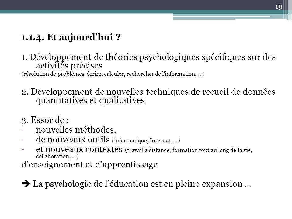 1.1.4. Et aujourdhui ? 1. Développement de théories psychologiques spécifiques sur des activités précises (résolution de problèmes, écrire, calculer,