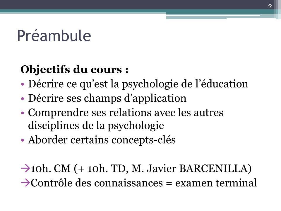 Préambule Objectifs du cours : Décrire ce quest la psychologie de léducation Décrire ses champs dapplication Comprendre ses relations avec les autres