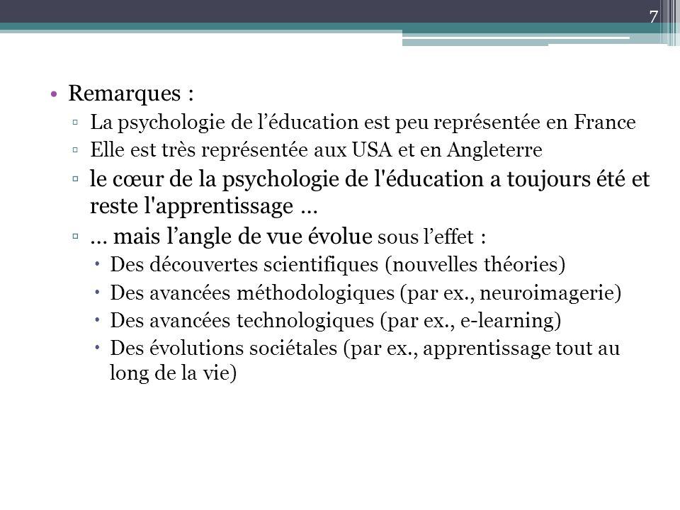 Remarques : La psychologie de léducation est peu représentée en France Elle est très représentée aux USA et en Angleterre le cœur de la psychologie de