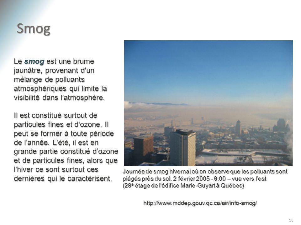 Smog 16 Le smog est une brume jaunâtre, provenant d'un mélange de polluants atmosphériques qui limite la visibilité dans latmosphère. Il est constitué