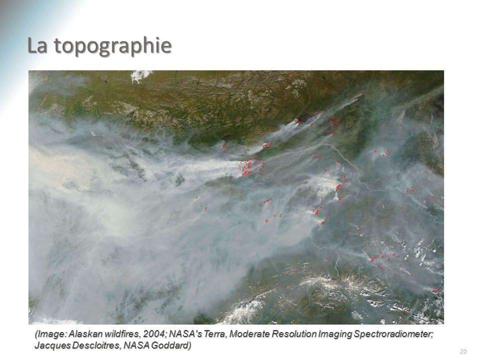 La topographie 20 La topographie joue également un rôle important dans la concentration des polluants. Par exemple, les « murs » physiques dune vallée