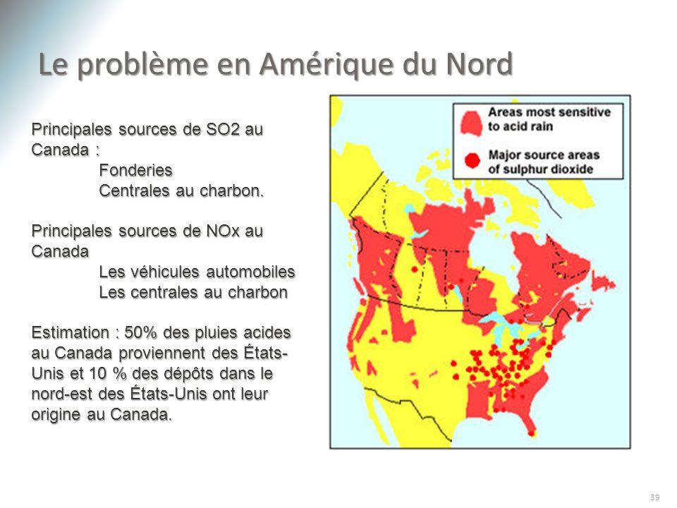 Le problème en Amérique du Nord 39 Principales sources de SO2 au Canada : Fonderies Fonderies Centrales au charbon. Principales sources de NOx au Cana