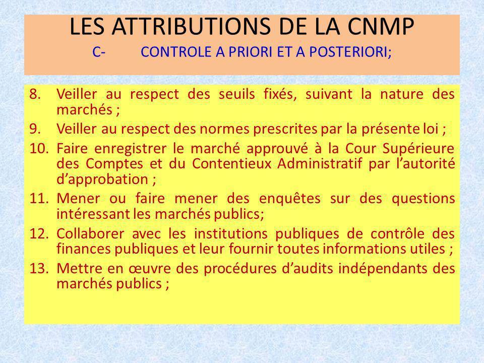 LES ATTRIBUTIONS DE LA CNMP C-CONTROLE A PRIORI ET A POSTERIORI; 8.Veiller au respect des seuils fixés, suivant la nature des marchés ; 9.Veiller au r