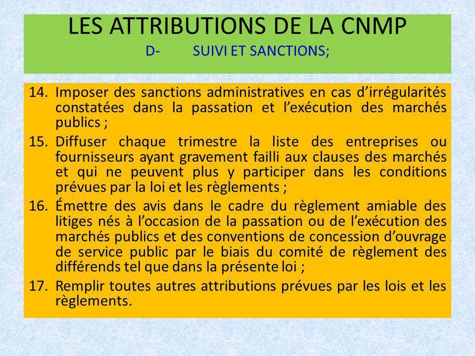LES ATTRIBUTIONS DE LA CNMP D-SUIVI ET SANCTIONS; 14.Imposer des sanctions administratives en cas dirrégularités constatées dans la passation et lexéc