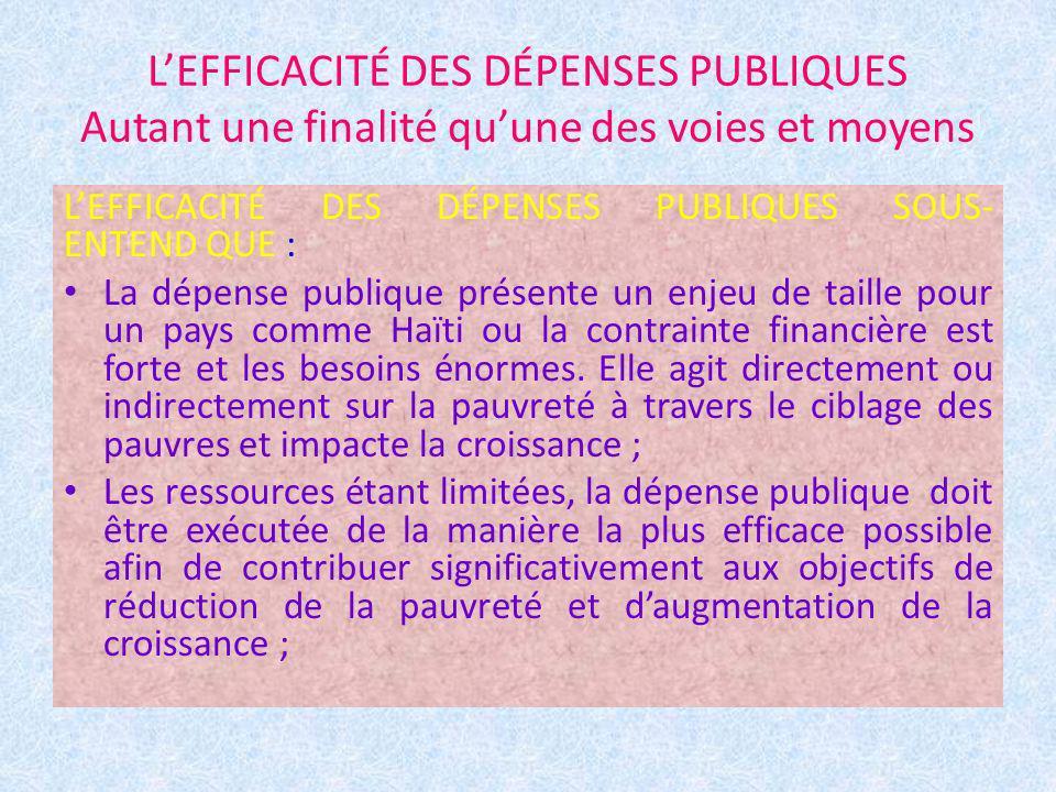 LEFFICACITÉ DES DÉPENSES PUBLIQUES Autant une finalité quune des voies et moyens LEFFICACITÉ DES DÉPENSES PUBLIQUES SOUS- ENTEND QUE : La dépense publ