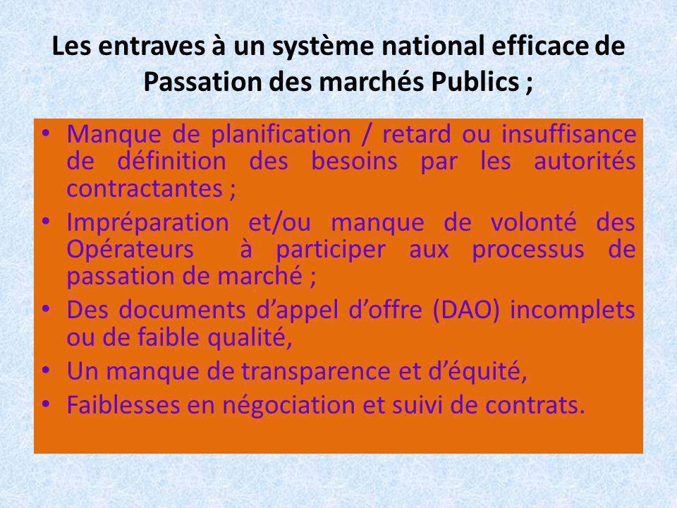 Les entraves à un système national efficace de Passation des marchés Publics ; Manque de planification / retard ou insuffisance de définition des beso