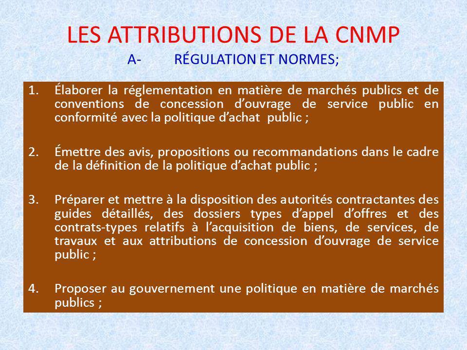 LES ATTRIBUTIONS DE LA CNMP A-RÉGULATION ET NORMES; 1.Élaborer la réglementation en matière de marchés publics et de conventions de concession douvrag