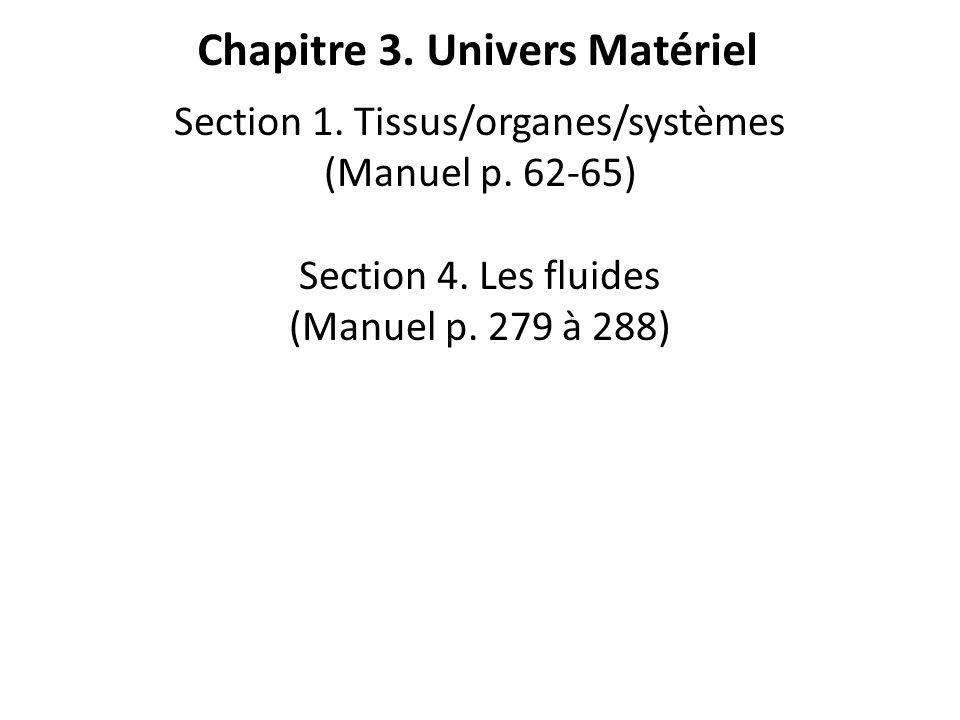 Chapitre 3. Univers Matériel Section 1. Tissus/organes/systèmes (Manuel p. 62-65) Section 4. Les fluides (Manuel p. 279 à 288)