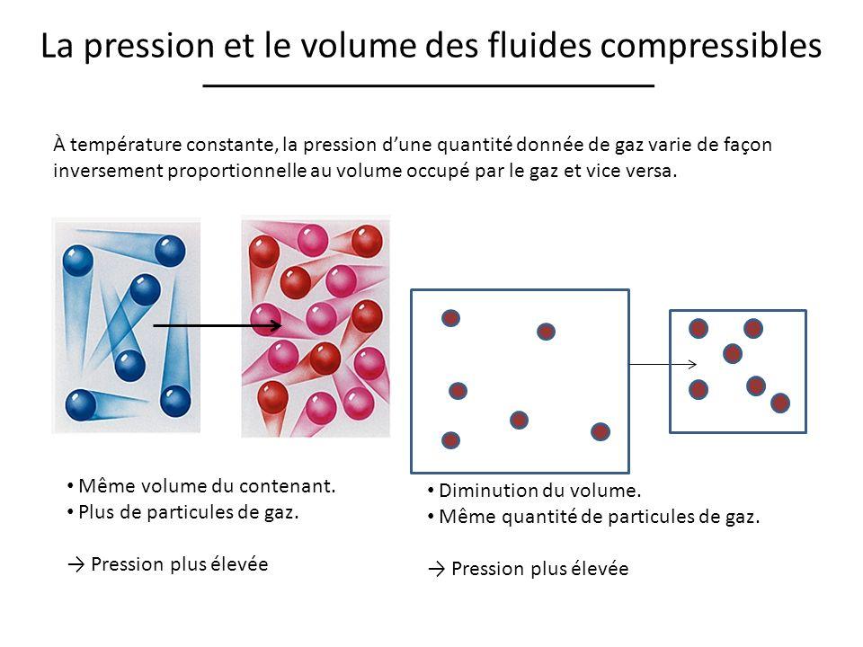 La pression et le volume des fluides compressibles À température constante, la pression dune quantité donnée de gaz varie de façon inversement proport