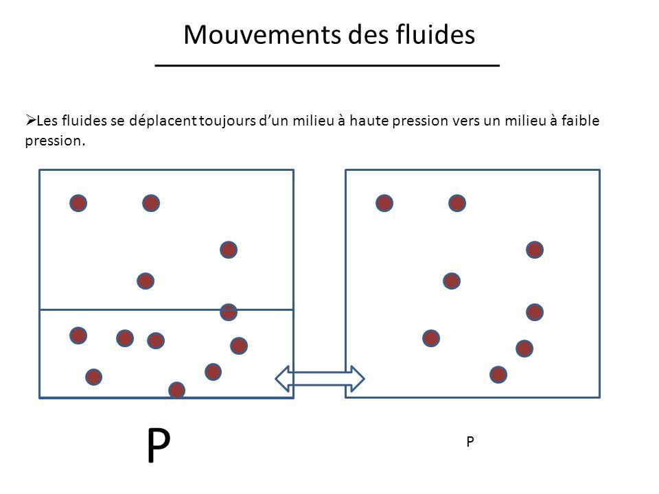 Mouvements des fluides Les fluides se déplacent toujours dun milieu à haute pression vers un milieu à faible pression. P P