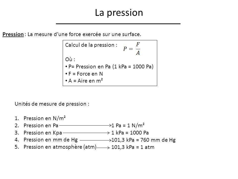 La pression Pression : La mesure dune force exercée sur une surface. Calcul de la pression : Où : P= Pression en Pa (1 kPa = 1000 Pa) F = Force en N A
