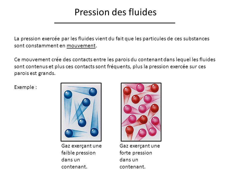 Pression des fluides La pression exercée par les fluides vient du fait que les particules de ces substances sont constamment en mouvement. Ce mouvemen