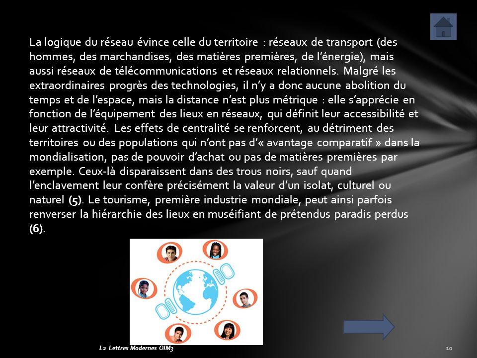L2 Lettres Modernes OIM3 La logique du réseau évince celle du territoire : réseaux de transport (des hommes, des marchandises, des matières premières,