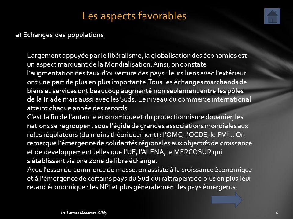 L2 Lettres Modernes OIM3 a) Echanges des populations 6 Les aspects favorables Largement appuyée par le libéralisme, la globalisation des économies est un aspect marquant de la Mondialisation.