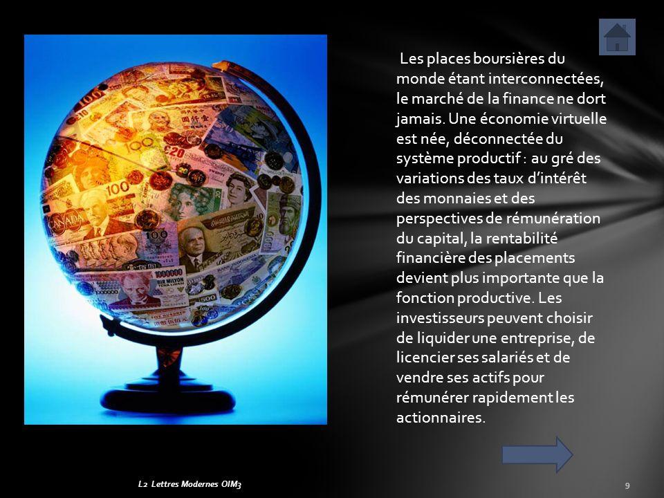 L2 Lettres Modernes OIM39 Les places boursières du monde étant interconnectées, le marché de la finance ne dort jamais. Une économie virtuelle est née