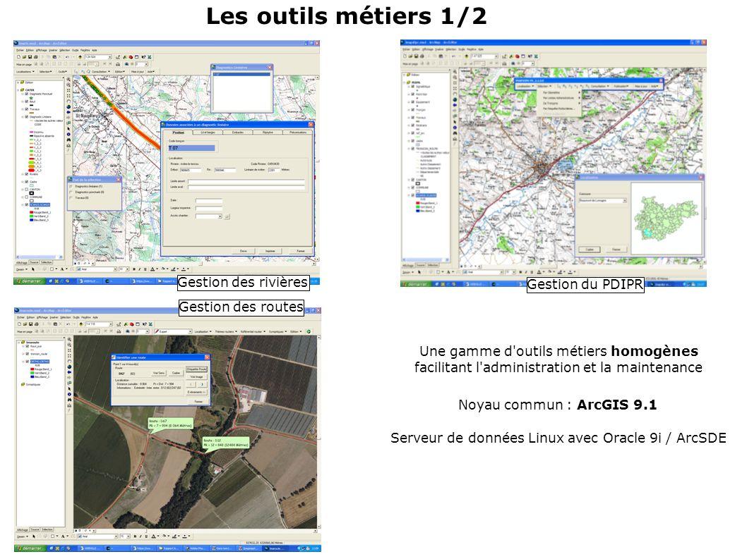 Gestion des routes Gestion du PDIPR Gestion des rivières Une gamme d outils métiers homogènes facilitant l administration et la maintenance Noyau commun : ArcGIS 9.1 Serveur de données Linux avec Oracle 9i / ArcSDE Les outils métiers 1/2