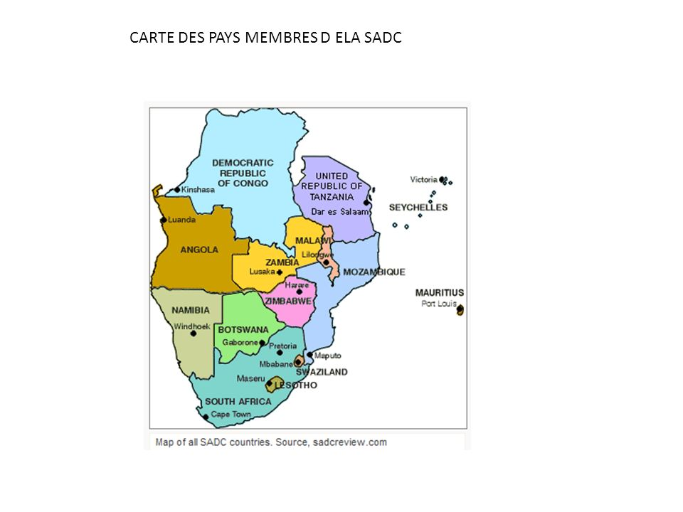 MISSION DE LA SADC - Promouvoir le développement économique de lAfrique Australe par une coopération agissante entre les Etats membres.