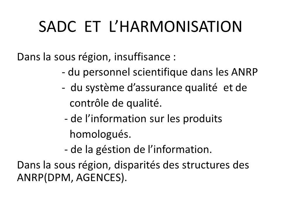 SADC ET LHARMONISATION Dans la sous région, insuffisance : - du personnel scientifique dans les ANRP - du système dassurance qualité et de contrôle de qualité.