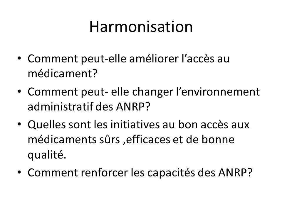 DOMAINES DE LHARMONISATION Examiner les directives actuelles,les protocoles et les procédures de lhomologation et de contrôle des médicaments.