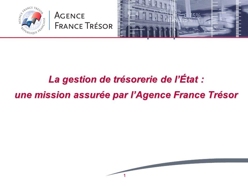 2 1.Les missions et lorganisation de lAFT 2.Principales caractéristiques de la dette française 3.Les objectifs de la gestion de trésorerie 4.Le périmètre de la gestion de trésorerie 5.La gestion active de trésorerie 6.Une journée type de gestion de trésorerie