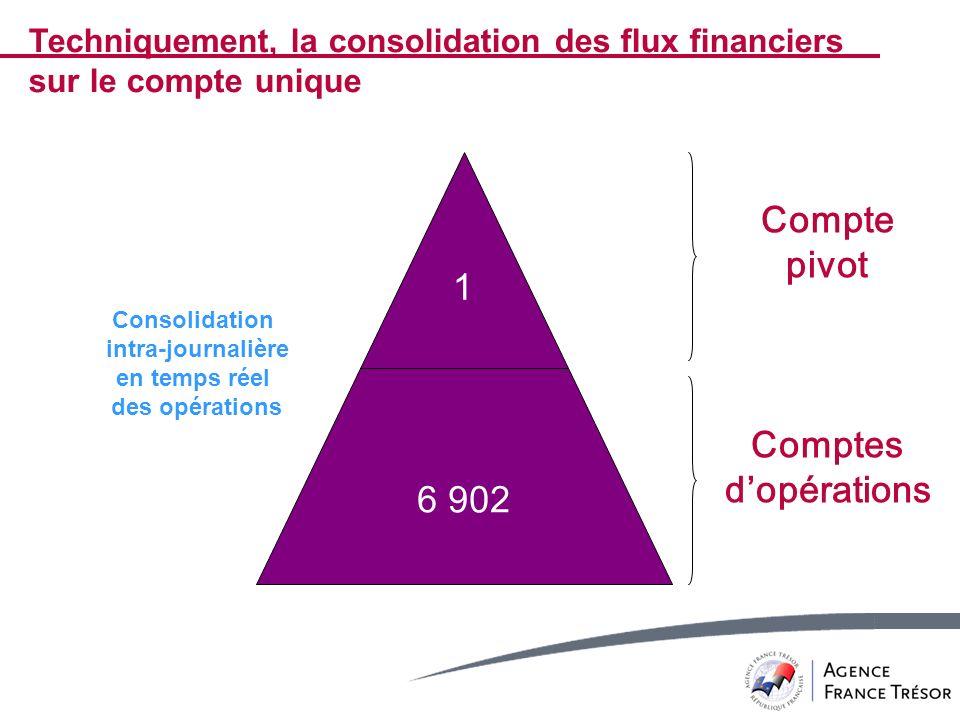 6 902 Compte pivot Comptes dopérations 1 Consolidation intra-journalière en temps réel des opérations Techniquement, la consolidation des flux financi