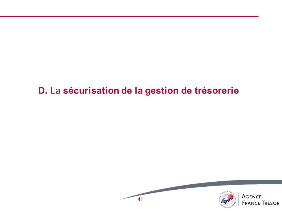 41 D. La sécurisation de la gestion de trésorerie