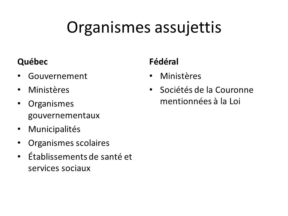 Organismes assujettis Québec Gouvernement Ministères Organismes gouvernementaux Municipalités Organismes scolaires Établissements de santé et services