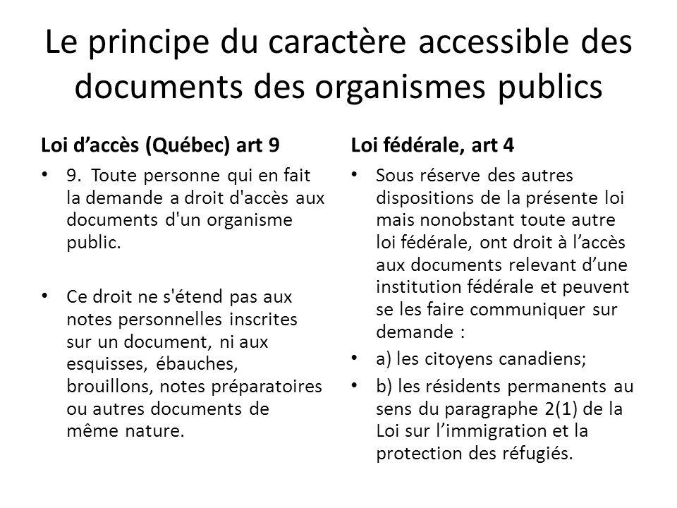 Le principe du caractère accessible des documents des organismes publics Loi daccès (Québec) art 9 9. Toute personne qui en fait la demande a droit d'