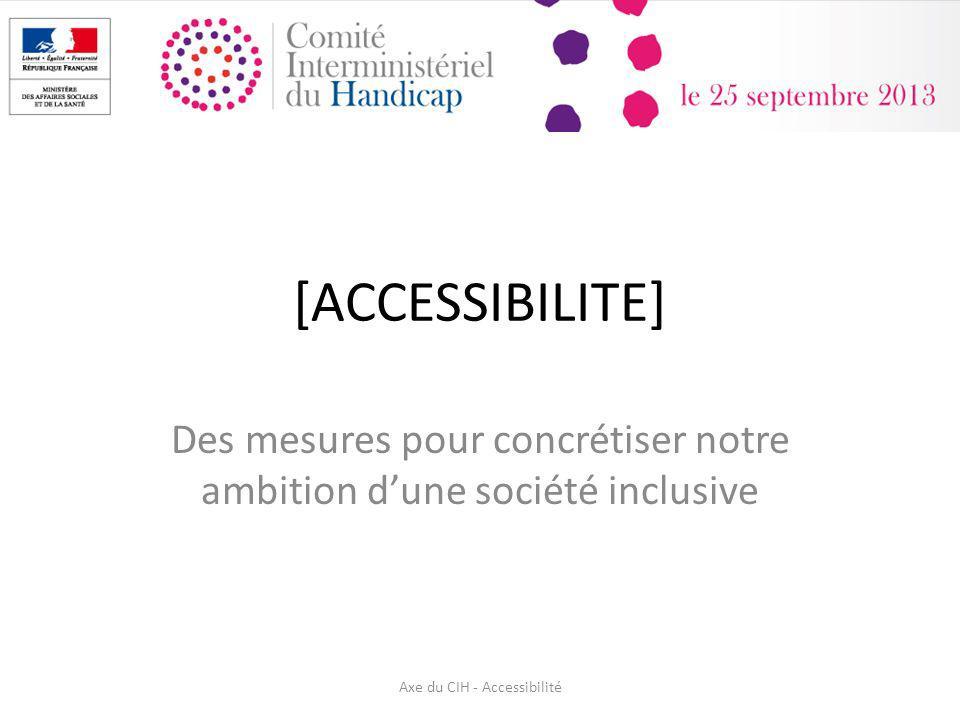 [ACCESSIBILITE] Des mesures pour concrétiser notre ambition dune société inclusive Axe du CIH - Accessibilité