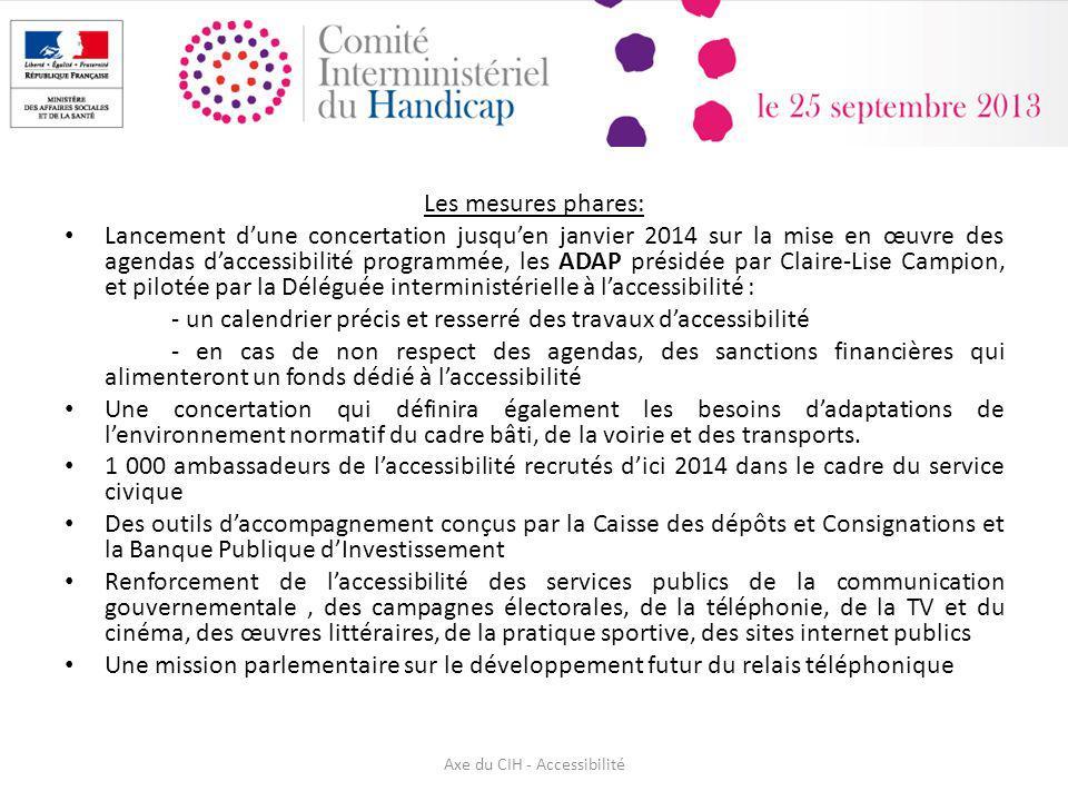 Les mesures phares: Lancement dune concertation jusquen janvier 2014 sur la mise en œuvre des agendas daccessibilité programmée, les ADAP présidée par