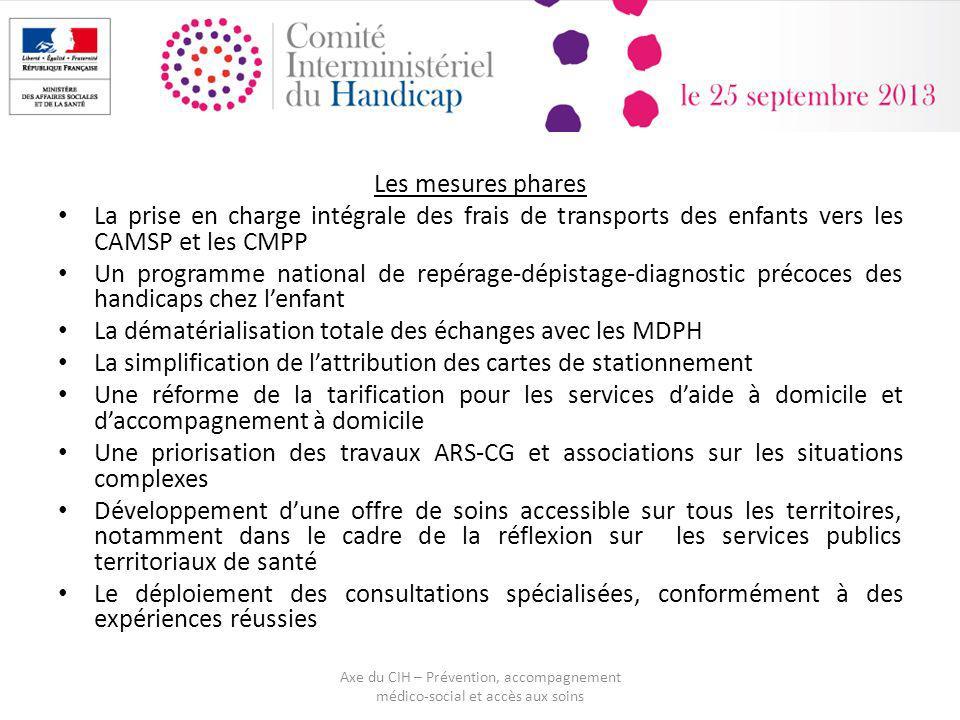 Les mesures phares La prise en charge intégrale des frais de transports des enfants vers les CAMSP et les CMPP Un programme national de repérage-dépis