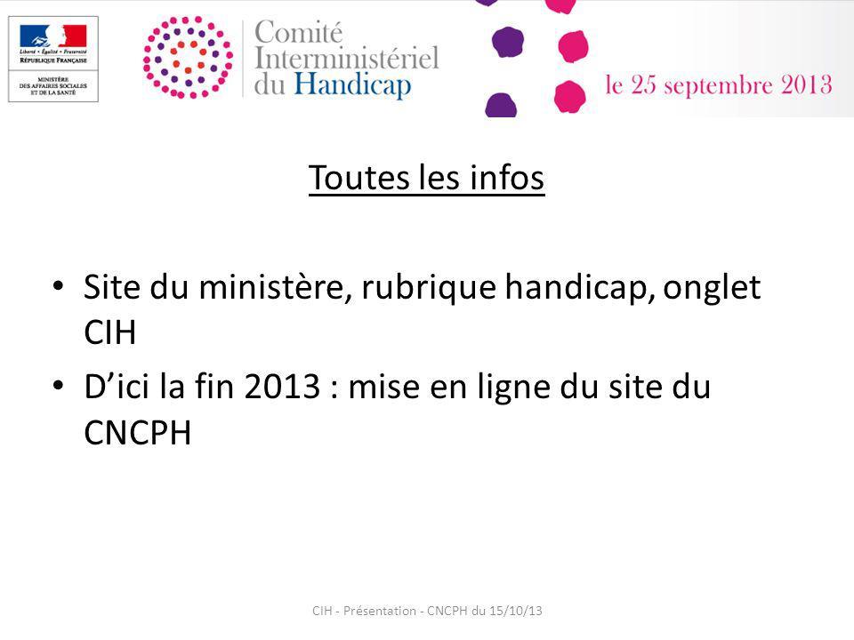 Toutes les infos Site du ministère, rubrique handicap, onglet CIH Dici la fin 2013 : mise en ligne du site du CNCPH CIH - Présentation - CNCPH du 15/10/13